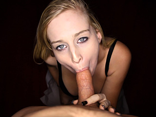Blonde chick sucking a king sized dick