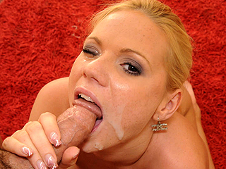Amateur horny blonde Babe gets her drooling mouth stuffed with dick and her face covered with cum